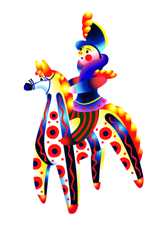 Toy Hussar on horseback. Color illustration with gradients.