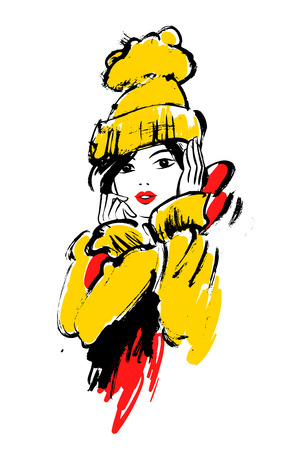 Vector fashion illustration of a girl in winter clothes. Illustration
