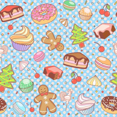 gingerbread cake: Cake, Christmas Tree, meringue, cherry, cupcake, donut, Gingerbread man, candy, macaroon. Illustration