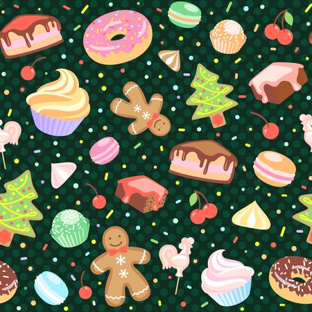 meringue: Cake, Christmas Tree, meringue, cherry, cupcake, donut, Gingerbread man, candy, macaroon. Illustration
