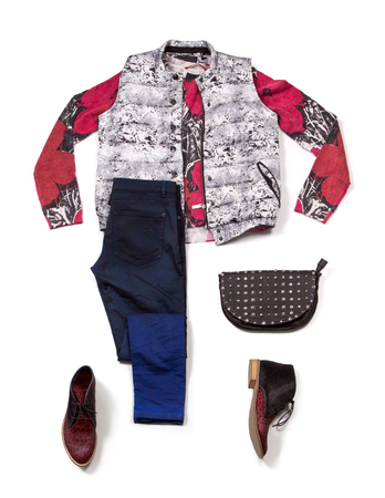 Composition with clothes. Vest, handbag and shoes