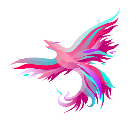 Mystic phoenix in pink. Vector illustration of colored shapes