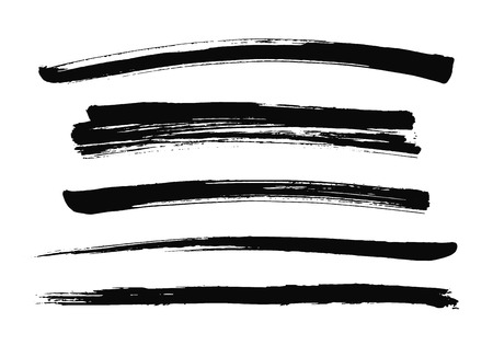 Set of black brush smears. Vector illustration. Grunge texture