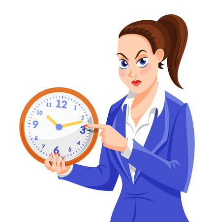Lateness concept. You are late title. Vector cartoon illustration