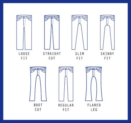 Denim fit icon set. Verschillende soorten jeans en broeken. Lijn vector pictogram silhouet Stock Illustratie