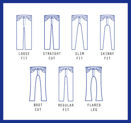 Denim fit icon set. Different type of jeans and trousers. Line vector icon silhouette Vettoriali