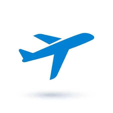 Airplane Icon in flat style. Isolated on white background with shadow