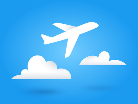 Paper flying plane and clouds.. Blue sky travel background. Cutout flat icons. Vector illustration.