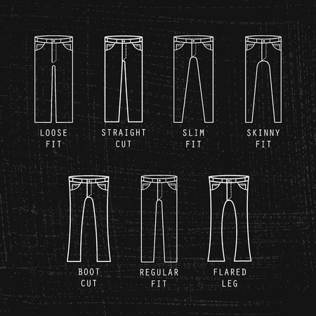 Denim fit icon set. Different type of jeans and trousers on black background Illustration