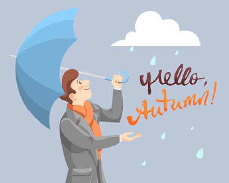 cartoon umbrella: Hello Autumn card Illustration
