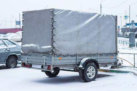 Trailer in the parking lot in the snow