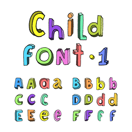 Childrens cartoon handmade colorful alphabet. Part one