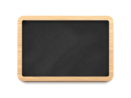 Black blank horizontal chalk board with a wooden frame. Vector illustration