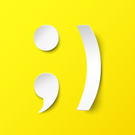 White paper smile. Illustration in paper style with a realistic shadow. Vector happy face