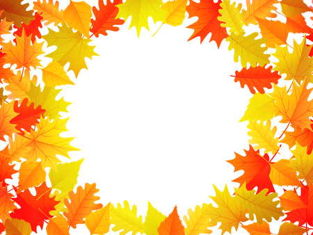 Autumn banner with colorful autumn leaves background with copyspace on the center. Vector illustration for fall season