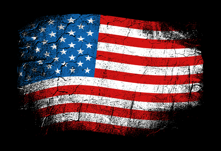 United States of America vector illustration in grunge style with cracks and abrasions