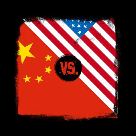Flags of China vs USA in grunge textured design. Trade war concept. Vector illustration Иллюстрация