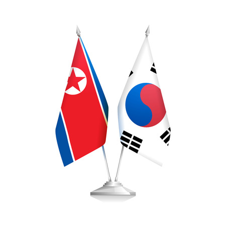 Flags of North Korea and South Korea. Policy