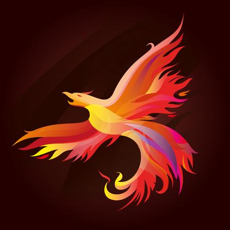 Fiery phoenix in bright colors Illustration