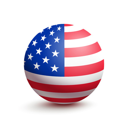 Flag of USA in the form of a ball isolated on white background. Vector illustration of the United States of America