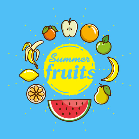 Set of fruit icons. Vector illustration