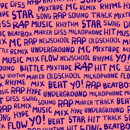 Seamless pattern with words on the rapper theme