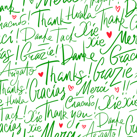 Pattern of Thank you in different languages Stock Illustratie