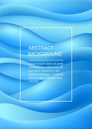 Fondo abstracto azul con ondas. Concepto de mar. Ilustración vectorial