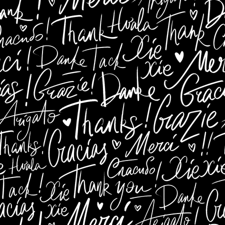 Pattern of Thank you in different languages Banco de Imagens