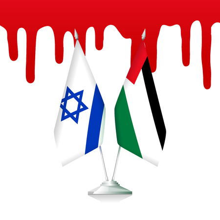 Flags of Palestine and Israel with the blood Иллюстрация