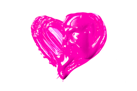 Pink heart on white background 免版税图像