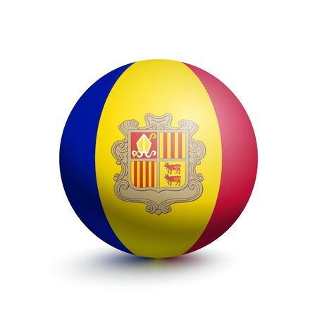 Flag of Andorra in the form of a ball