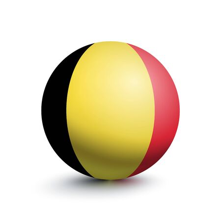 Flag of Belgium in the form of a ball isolated on a white background. Vector illustration