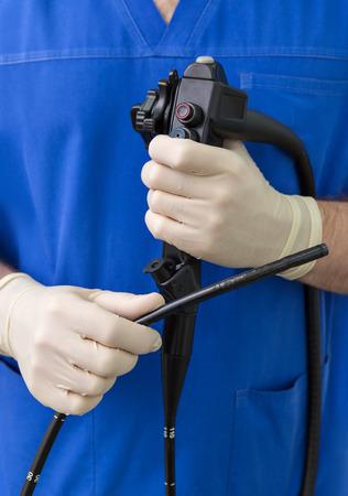 Endoscope in doctor's hands Standard-Bild