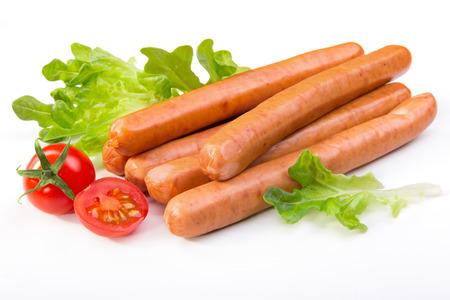 saucisse: Saucisses aux treillis et les tomates Banque d'images