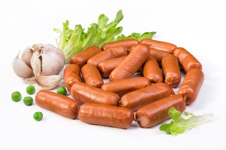 saucisse: Saucisses avec de la laitue et l'ail