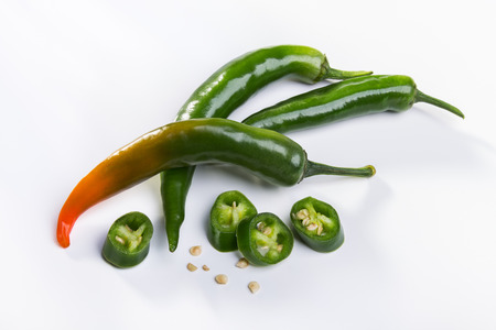 pods: Green pods of spicy pepper