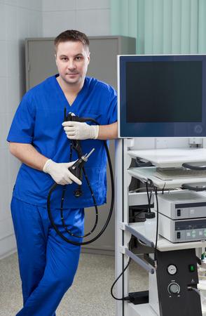 endoscope: Young endoscope doctor in examine room Stock Photo
