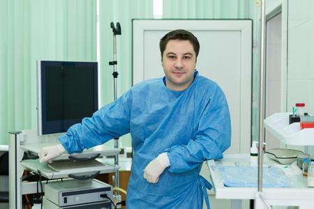 endoscope: endoscope doctor in examine room