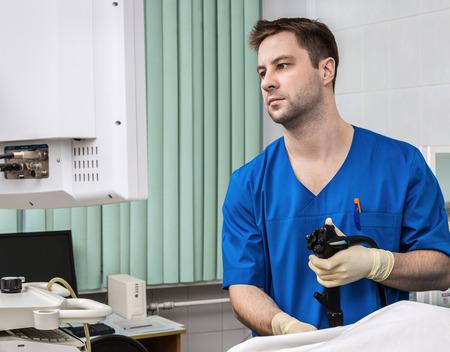 endoscope: Doctor with endoscope Stock Photo