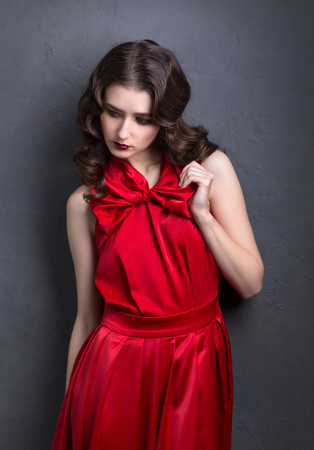 red dress: portrait of a lady in a red dress