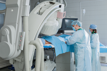 Examination of patient using angiograph