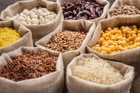 food products: Cereals and beans in bags Stock Photo