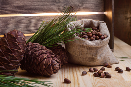 pine nuts: Pine cones and nuts in the bag
