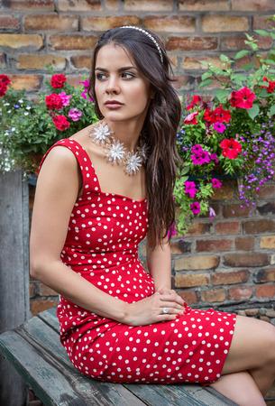summer dress: Summer girl in a red dress