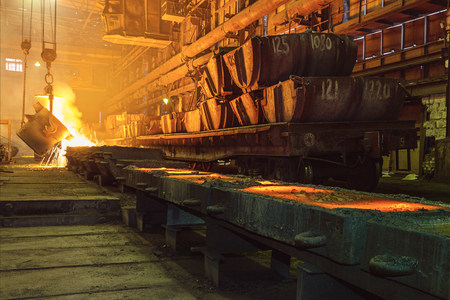 hot metal at the metallurgical plant Stock Photo