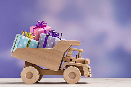 Truck with gift boxes. Stock Photo