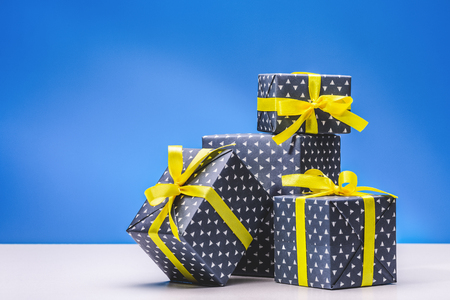 Collection Of Boxes With Gifts For Men In Elegant Paper With