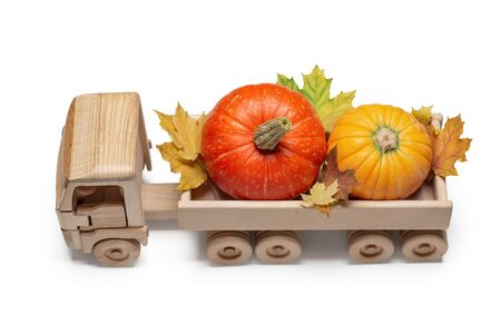 A wooden toy truck carries pumpkins and autumn maple leaves in back. White background, copy space. Stock Photo