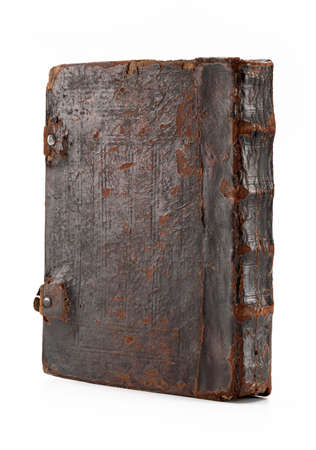 Old worn book, in a brown leather case with lock. Close-up, vertical shot, in isolation